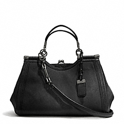 COACH MADISON STINGRAY EMBOSSED LEATHER PINNACLE CARRIE SATCHEL - ANTIQUE NICKEL/BLACK - F32422