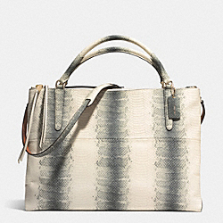 COACH THE LARGE BOROUGH BAG IN STRIPED EMBOSSED LEATHER - GOLD/BLACK/WHITE - F32425