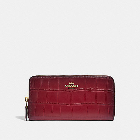 COACH ACCORDION ZIP WALLET - CHERRY /LIGHT GOLD - F32433