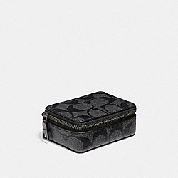 COACH PILL BOX IN SIGNATURE CANVAS - CHARCOAL/BLACK - F32439