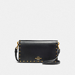 SLIM PHONE CROSSBODY WITH RIVETS - B4/BLACK - COACH F32444