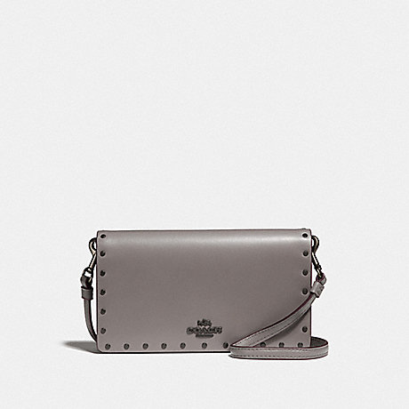 COACH SLIM PHONE CROSSBODY WITH RIVETS - HEATHER GREY/BLACK COPPER - F32444
