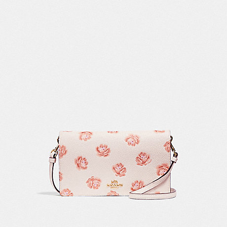 COACH HAYDEN FOLDOVER CROSSBODY CLUTCH WITH ROSE PRINT - CHALK ROSE PRINT/LIGHT GOLD - F32453