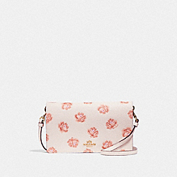 HAYDEN FOLDOVER CROSSBODY CLUTCH WITH ROSE PRINT - CHALK ROSE PRINT/LIGHT GOLD - COACH F32453