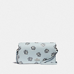 HAYDEN FOLDOVER CROSSBODY CLUTCH WITH ROSE PRINT - SKY ROSE PRINT/SILVER - COACH F32453