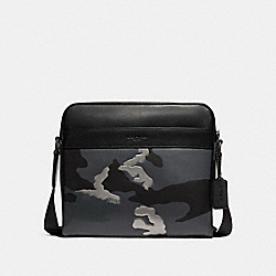 CHARLES CAMERA BAG WITH METALLIC CAMO PRINT - GREY MULTI/MATTE BLACK - COACH F32459