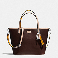 COACH METRO LEATHER SMALL TOTE - SILVER/MAHOGANY - F32462