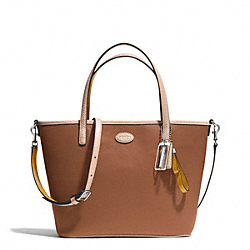 COACH METRO LEATHER SMALL TOTE - SILVER/SADDLE - F32462