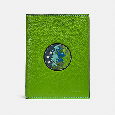 COACH PASSPORT CASE WITH SPACE PATCHES - NEON GREEN - f32465