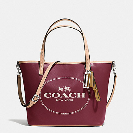 COACH f32482 METRO HORSE AND CARRIAGE SMALL TOTE SILVER/CRIMSON