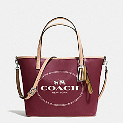 COACH METRO HORSE AND CARRIAGE SMALL TOTE - SILVER/CRIMSON - F32482