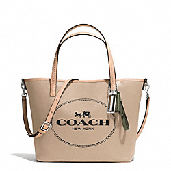 COACH METRO HORSE AND CARRIAGE SMALL TOTE - SILVER/LIGHT KHAKI - F32482