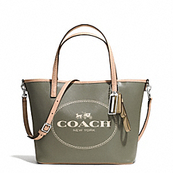 COACH METRO HORSE AND CARRIAGE SMALL TOTE - SILVER/OLIVE - F32482