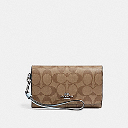COACH FLAP PHONE WALLET IN SIGNATURE CANVAS - KHAKI/PALE BLUE/SILVER - F32484