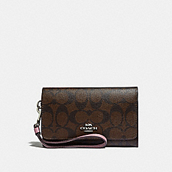 COACH FLAP PHONE WALLET IN SIGNATURE CANVAS - brown/dusty rose/silver - F32484