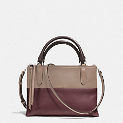 THE MINI BOROUGH BAG IN RETRO COLORBLOCK LEATHER - ANTIQUE NICKEL/OXBLOOD/OLIGHT GOLDVE GREY - COACH F32503