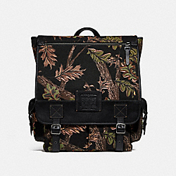 SCOUT BACKPACK WITH OAK LEAF PRINT - BLACK - COACH F32573