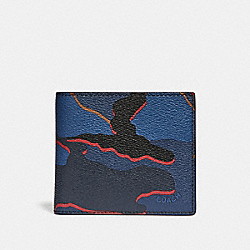COACH DOUBLE BILLFOLD WALLET WITH CAMO PRINT - BLUE MULTI/BLACK ANTIQUE NICKEL - F32614
