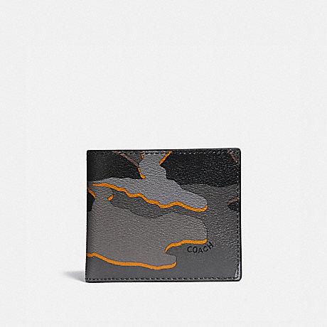 COACH DOUBLE BILLFOLD WALLET WITH CAMO PRINT - GREY MULTI/BLACK ANTIQUE NICKEL - F32614
