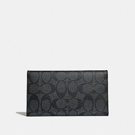 COACH LARGE UNIVERSAL PHONE CASE IN SIGNATURE CANVAS - CHARCOAL/BLACK/BLACK ANTIQUE NICKEL - F32625