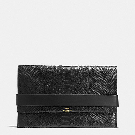 COACH BLEECKER CLUTCH IN PYTHON EMBOSSED LEATHER -  GOLD/BLACK - f32641