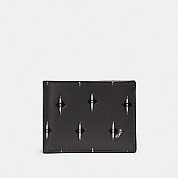 SLIM BILLFOLD WALLET WITH IKAT GEO PRINT - GRAPHITE - COACH F32652