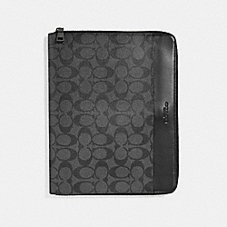 TECH CASE IN SIGNATURE CANVAS - f32654 - CHARCOAL/BLACK
