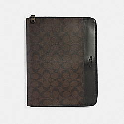TECH CASE IN SIGNATURE CANVAS - MAHOGANY/BROWN - COACH F32654