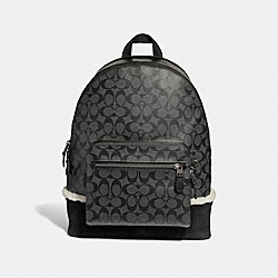 WEST BACKPACK IN SIGNATURE CANVAS - CHARCOAL/BLACK/BLACK COPPER FINISH - COACH F32673