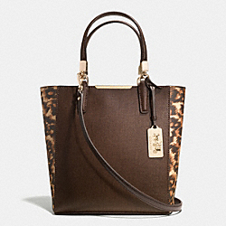 COACH MADISON COLORBLOCK SAFFIANO LEATHER MINI NORTH/SOUTH TOTE - LIGHT GOLD/BROWN MULTI - F32683