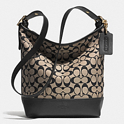COACH BLEECKER PRINTED SIGNATURE FABRIC DUFFLE BAG - GOLD/LIGHT KHAKI/BLACK - F32684