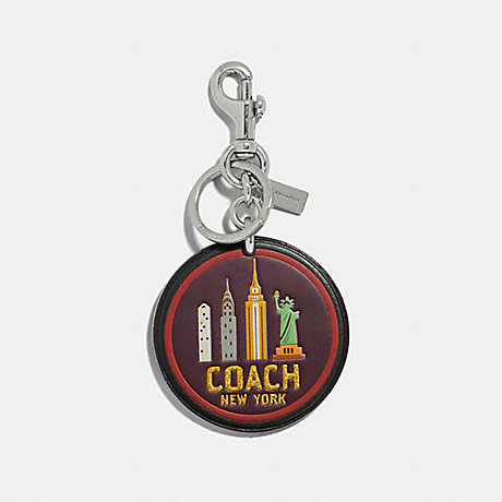 COACH NEW YORK BAG CHARM - BLACK/SILVER - F32687