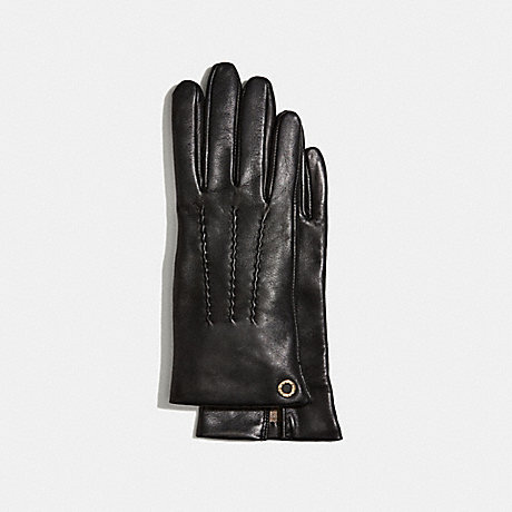 COACH CLASSIC LEATHER GLOVES - BLACK - F32700