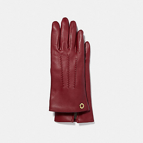COACH CLASSIC LEATHER GLOVES - CHERRY - F32700