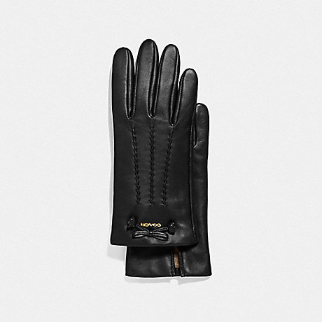 COACH LEATHER GLOVES WITH TEA ROSE TASSEL BOW - BLACK - F32708