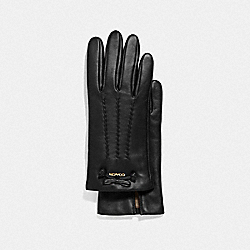 LEATHER GLOVES WITH TEA ROSE TASSEL BOW - BLACK - COACH F32708