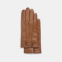 LEATHER GLOVES WITH TEA ROSE TASSEL BOW - SADDLE - COACH F32708