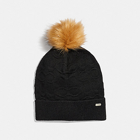COACH EMBOSSED SIGNATURE KNIT HAT - BLACK - F32713