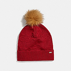 EMBOSSED SIGNATURE KNIT HAT - BRIGHT RED - COACH F32713