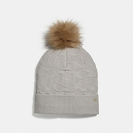 COACH EMBOSSED SIGNATURE KNIT HAT - ICE - F32713
