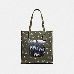 DISNEY X COACH SPOOKY EYES TOTE - ARMY GREEN/BLACK COPPER - COACH F32719