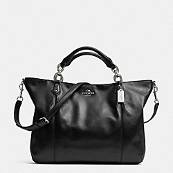 COACH COLETTE LEATHER FASHION SATCHEL - SILVER/BLACK - F32785