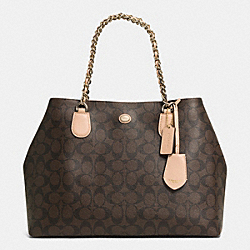 COACH PEYTON SIGNATURE CHAIN TOTE - IMITATION METAL/BROWN/TAN - F32835