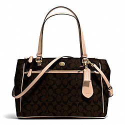 COACH PEYTON SIGNATURE JORDAN DOUBLE ZIP CARRYALL - BRASS/BROWN/TAN - F32838