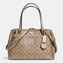 COACH PEYTON SIGNATURE JORDAN DOUBLE ZIP CARRYALL - IM/KHAKI/GOLD - F32838