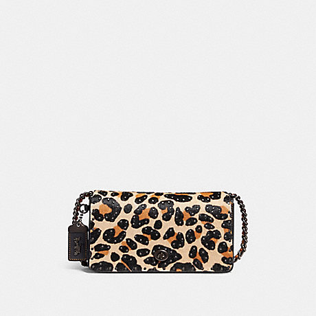 COACH DINKY WITH EMBELLISHED LEOPARD PRINT - LEOPARD/BLACK COPPER - F32869