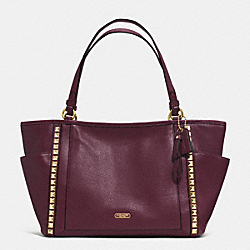COACH PARK LEATHER PYRAMID STUD CARRIE TOTE - BRASS/SHERRY - F32897