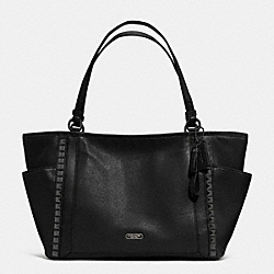 COACH PARK LEATHER PYRAMID STUD CARRIE TOTE - GUNMETAL/BLACK - F32897