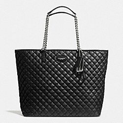 COACH METRO QUILTED CHAIN TOTE - SILVER/BLACK - F32905