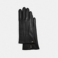 SCULPTED SIGNATURE LEATHER GLOVES - BLACK - COACH F32956